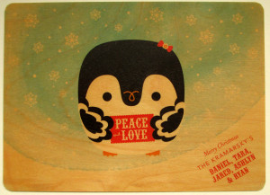 Night Owl Paper Goods – Holiday Cards Printed on Real Wood!