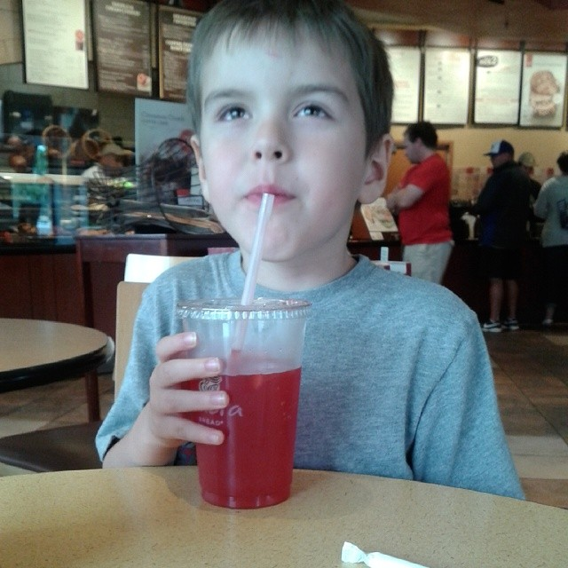 Eating at Panera with this little dude then heading over to watch Planes: Fire & Rescue <3