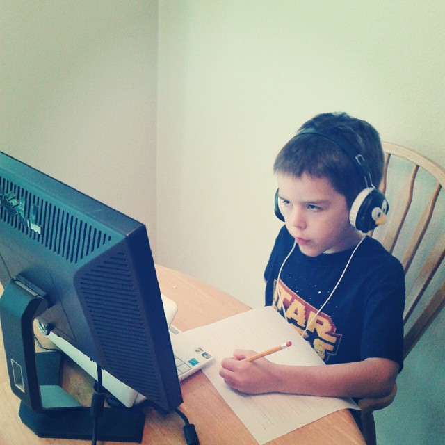 Second day of #homeschooling for my first grader. Yesterday he asked for more tests :-) #homeschool