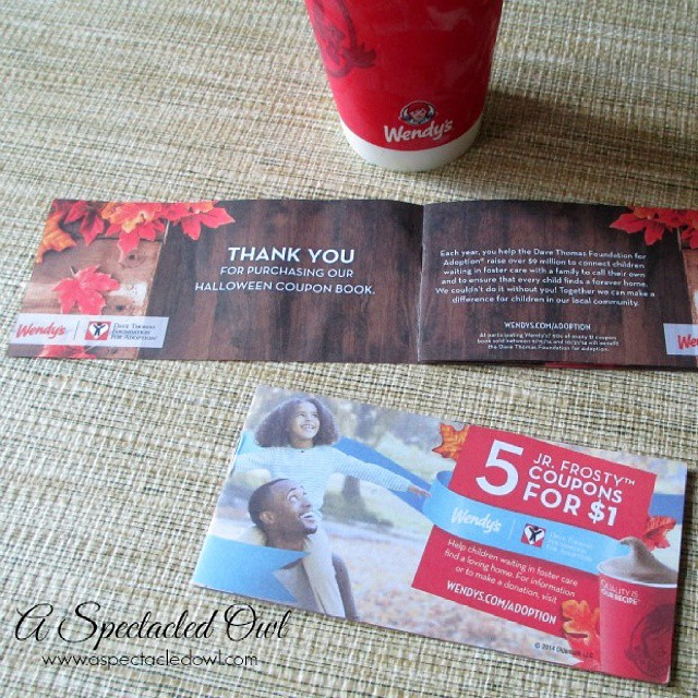 Wendy's Halloween Coupon Books are here! For just $1, you can give your kids, the kids at school or the kids that will be trick or treating soon, something great that they will love and that will also help other kids! Ninety cents of each book goes to the Dave Thomas Foundation for Adoption, helping kids in foster care find their forever families! #ad #Frosty4Adoption (link to blog post in profile for more info)