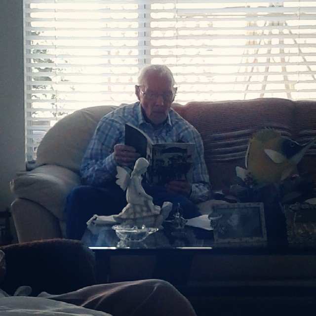 My grandpa, who will be 93 next week. He doesn't realize that he's not a spring chicken anymore and fell off a ladder today. The last I heard, he broke his leg and was being admitted to the hospital :-( He and my grandma live 4-5 hours from any of us so thank God for their wonderful neighbors! Please keep him in your thoughts and prayers!