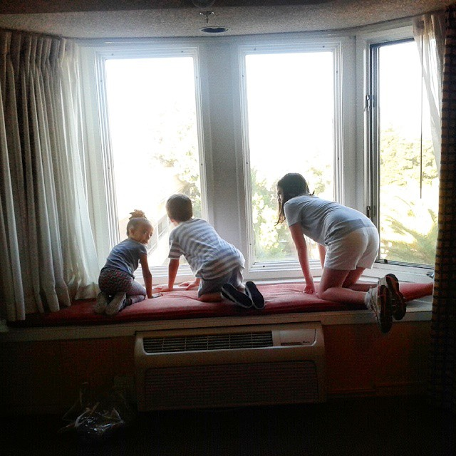 My niece, youngest son and daughter love looking out of the 5th story window at the Santa Maria Inn. It's been a fun weekend!