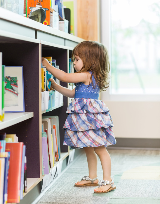 Girl Choosing Book From School Library